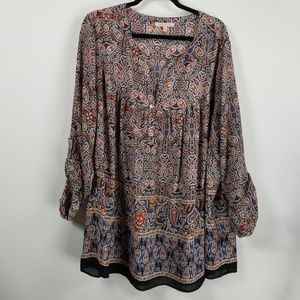 Gibson latimes longsleeve tunic blouse 3X paisley